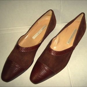 Perry Ellis Size 7.5B Brown Leather Suede Shoes